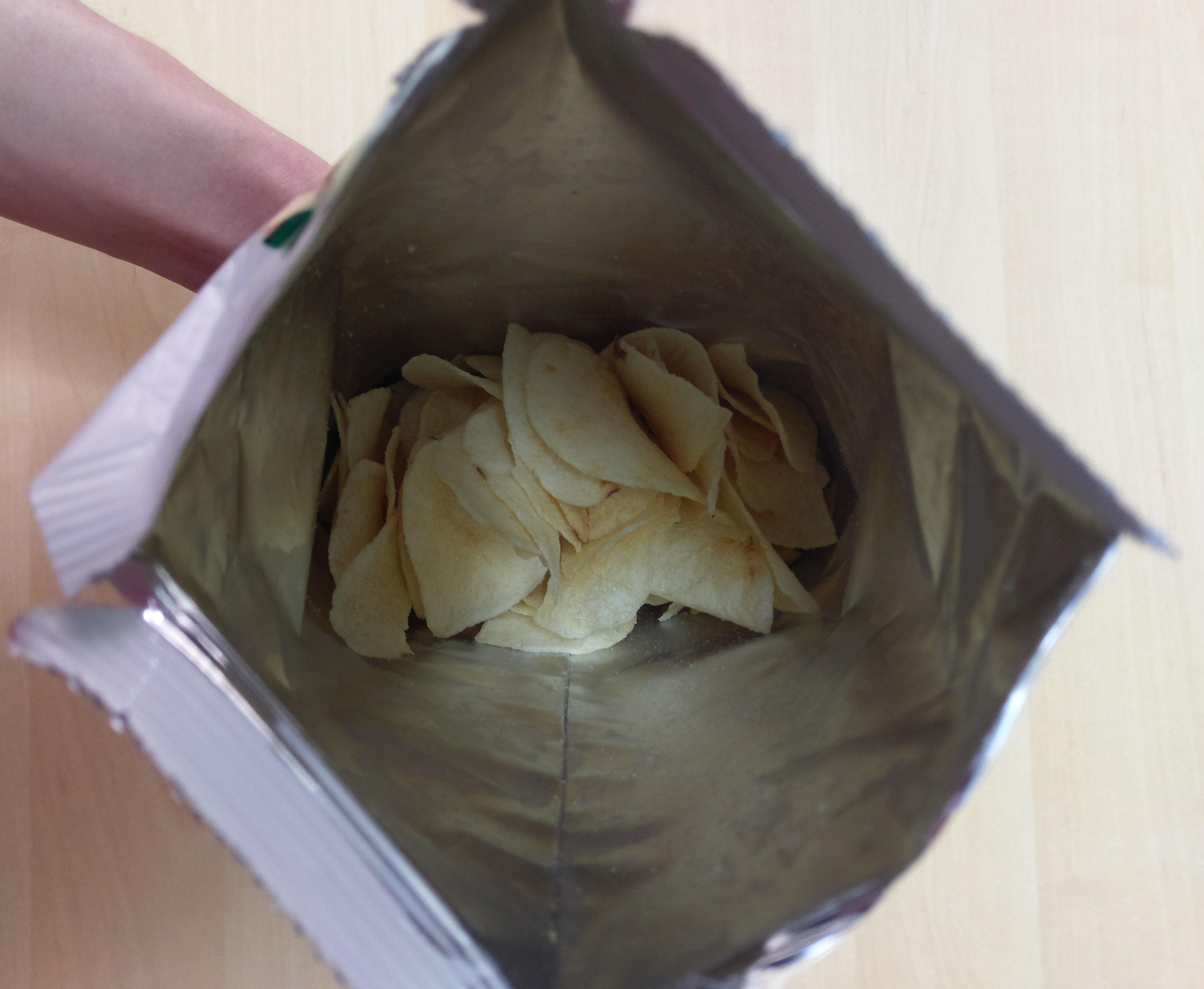 Inside the cosmos yogurt potato chip bag