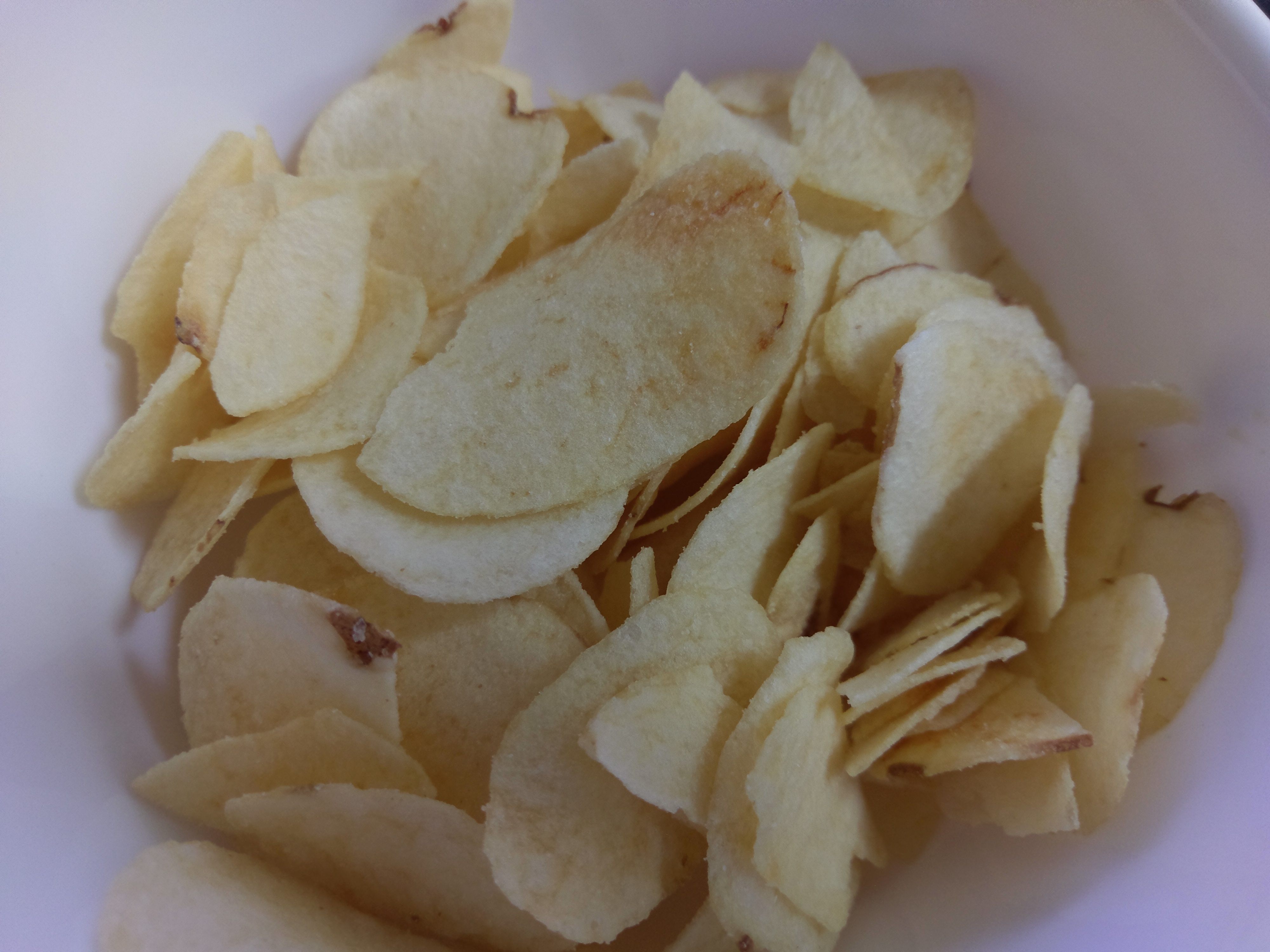 A close up of the Cosmos yogurt potato chips