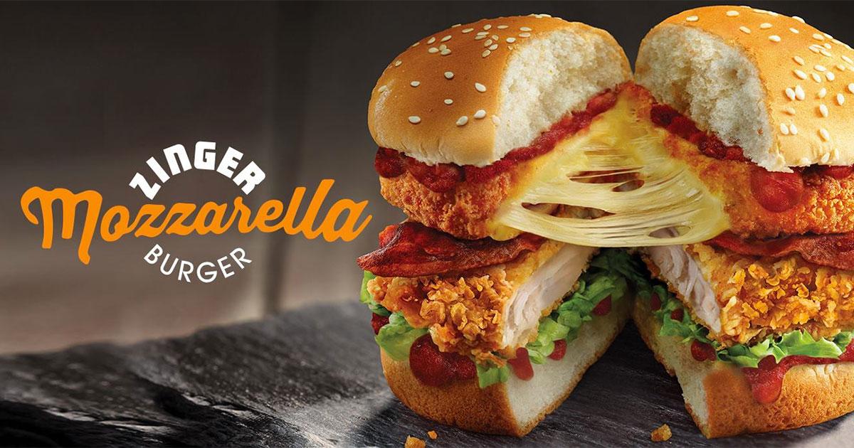 KFC Zinger Mozzarella Burger official advertisement